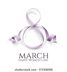 March 8 international women's day background. Greeting card template. Vector illustration.