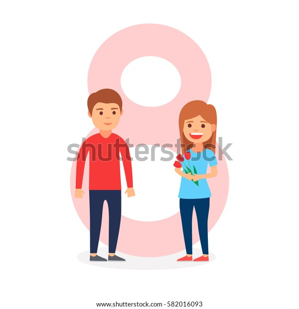 March 8. Loving couple on a background of eight, international women's day.