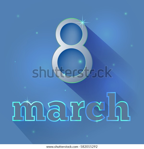 March 8 postcard for congratulations on a dark blue background with shadow. International Women's Day. Vector illustration