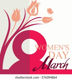 March 8. Women's Day card with flowers tulip and butterfly. Vector template of banner, poster, postcard, invitation.