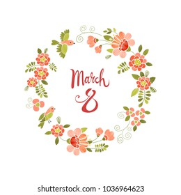 March 8 Women's Day greeting card with an embroidery floral wreath frame. Vector template for your design.