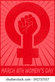 March 8th women's day celebration with female gender symbol and raised fist feminist protest vector card or logo design illustration