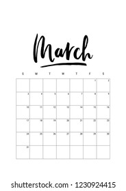 March. Calendar planner 2019, week starts on Sunday. Part of sets of 12 months. Wall desk calendar vector template print A4 size, simple black and white minimal design ink hand drawn lettering