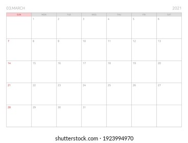 March calendar template illustration for diary, notebook