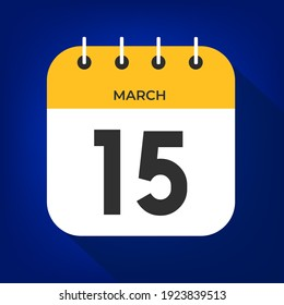 March day 15. Number fifteen on a white paper with yellow color border on a blue background vector.