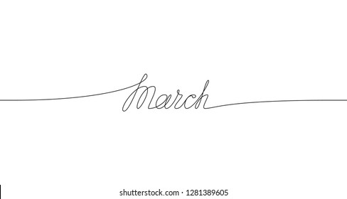 MARCH handwritten inscription. One line drawing of word