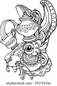 march hare mad tea party alice in wonderland coloring page vector isolated illustration