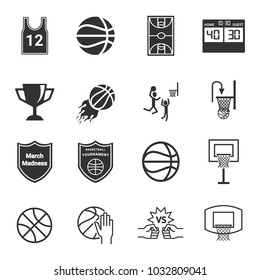 march madness icons , basketball vector illustration