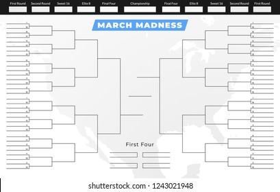 March madness tournament bracket. Empty competition grid template