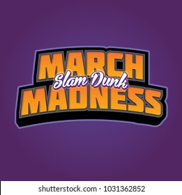March Slam Dunk Madness Basketball Headline Vector Graphic