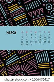 March. Vector colorful monthly calendar for 2020 year with abstract marker doodle. Editable template A5, A4, A3 size, can be printed and used as a desk, table or wall calender for your schedule plans.