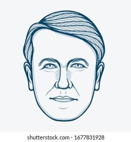 March,2020 : Line Art Portrait of Thomas Alva Edison. American Inventor and Businessman.