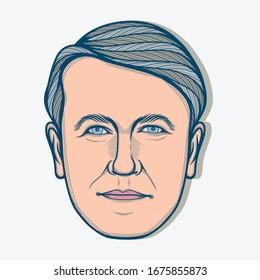 March,2020 : Portrait of Thomas Alva Edison. American Inventor and Businessman.