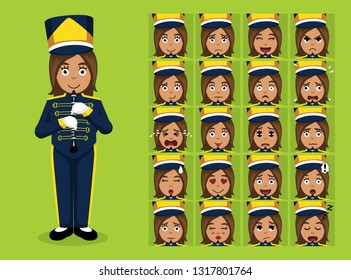 Marching Band Characters Clarinet Cartoon Emoticon Faces Vector Illustration