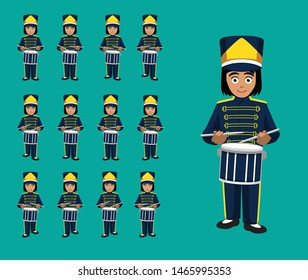 Marching Band Drummer Girl Animation Cute Cartoon Vector Illustration