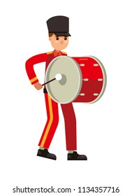 marching band drummer vector illustration