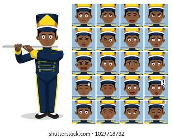 Marching Band Flute Cartoon Emotion faces Vector Illustration