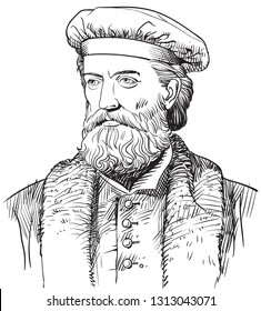 Marco Polo (1254-1324) portrait in line art illustration. He was an Italian merchant, explorer, adventurer and writer who traveled from Europe to Asia and lived in China for 17 years.