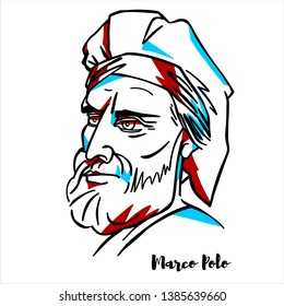 Marco Polo engraved vector portrait with ink contours. Italian merchant, explorer, and writer, born in the Republic of Venice.