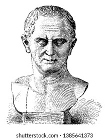 Marcus Tullius Cicero, 106 BC-43 BC, he was a Roman politician, lawyer, consul of the Roman Republic, and governor of the Roman province of Cilicia, vintage line drawing or engraving illustration