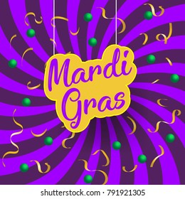 Mardi Gras Abstract with golden confetties in purple sunbue-rst background. Vector Illustrator. EPS 10