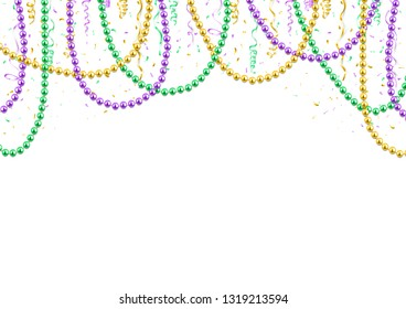 Mardi Gras background template, festive banner, colorful beads and confetti, vector illustration