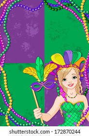 Mardi Gras Banner with beautiful girl holding mask
