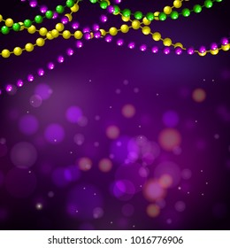Mardi gras bead garlands and bokeh card vector purple background template.