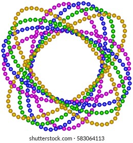 Mardi Gras beads background with place for text.