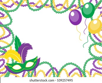 Mardi Gras beads colored frame with a mask and balloons, isolated on white background. Vector illustration