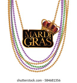 Mardi Gras beads and necklace. EPS 10 vector.