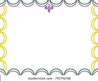 Mardi Gras Border with Purple, Green, and Gold Beads