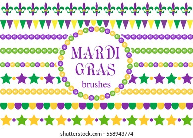 Mardi Gras borders set . Cute beads, fleur de lis ornaments, garland. Isolated on white background. Vector illustration