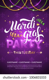 Mardi gras brochure. Vector logo with hand drawn lettering, ribbons, stars and fat tuesday symbols. Greeting card with shining beads on traditional colors background