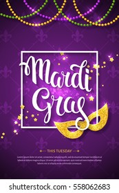Mardi gras brochure. Vector logo with hand drawn lettering and golden fat tuesday mask. Greeting card with shining beads on traditional colors background