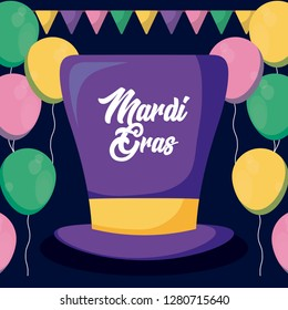 mardi gras card with tophat