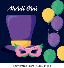 mardi gras card with tophat and mask