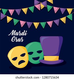 mardi gras card with tophat and masks