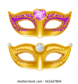 Mardi Gras Carnaval golden mask with gems. Vector illustration. Isolated on white background.