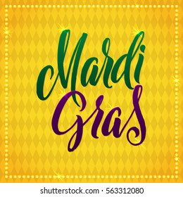 Mardi Gras Carnival Calligraphy Poster. Vector illustration Calligraphic Yellow Greeting card. Mardi Gras type Treatment.