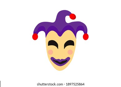 mardi gras carnival cartoon funny joker mask with jester cap with purple color. Fat tuesday, carnival, festival. Vector isolated on white background. For greeting card, banner, poster