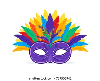 Mardi Gras Carnival Colorful Mask. Flat Design Style.