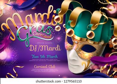 Mardi gras carnival design with clown mask in 3d illustration on purple firework background