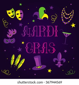 mardi gras carnival elements with hand drawn text, deep purple background, vector illustration