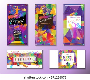 Mardi Gras Carnival festive posters vector, set. Brazilian Carnival banners, graphic design. Holiday, Festival colorful Illustration. Set of Carnival, Festival, Masquerade flyers banners poster ticket