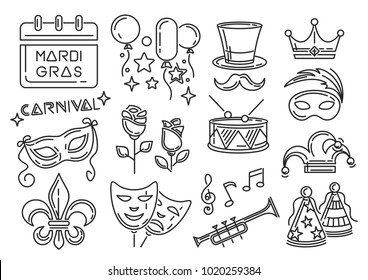 Mardi Gras carnival line icons set. Icon collection for Mardi Gras also called Shrove Tuesday or Fat Tuesday. Vector illustration