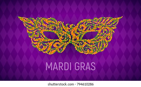 Mardi Gras carnival mask on purple background. Eps8. RGB. Global colors