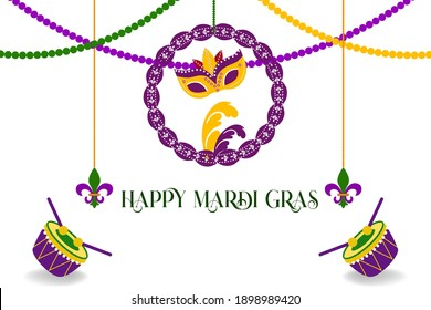 mardi gras carnival party design with cartoon colorful mask, beads and drums . Fat tuesday, carnival, festival.  For greeting card, banner, gift packaging, poster.