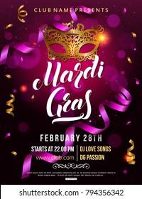 Mardi Gras carnival party invitation poster with masquerade gold mask colorful serpentine and confetti vector illustration