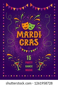 Mardi gras carnival party poster design. Fat tuesday, carnival, festival. Vector illustration. For greeting card, banner, gift packaging, poster